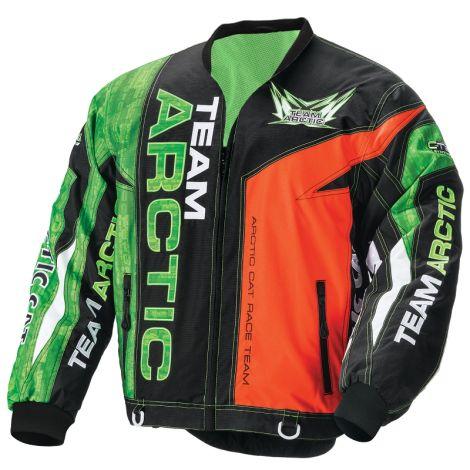 Arctic Cat Men's No Collar On-Track Race Jacket - Green & Orange