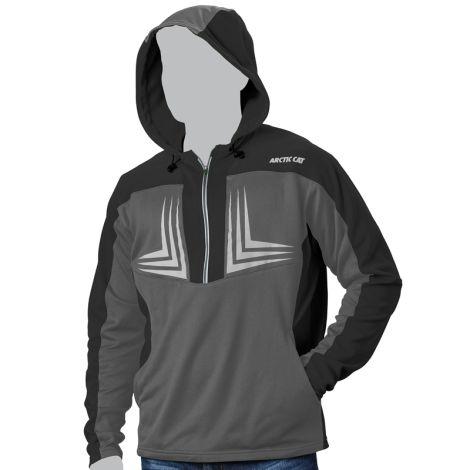 Arctic Cat Men's 1/2 Zip Performance Hooded Sweatshirt - Black & Gray