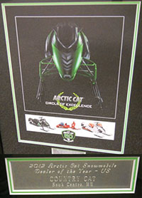 The 2012 Arctic Cat  Dealer Of The Year Award